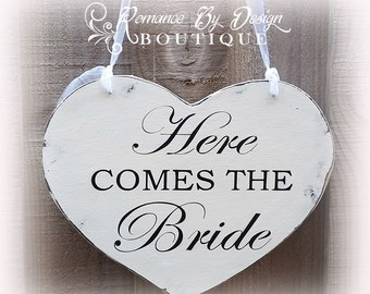 Here Comes the Bride Heart Wedding Sign