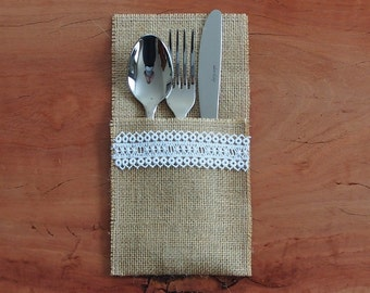 6 Burlap / Hessian and white lace cutlery holder