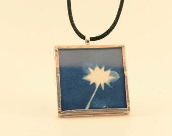 Cyanotype Star Flower Pendant