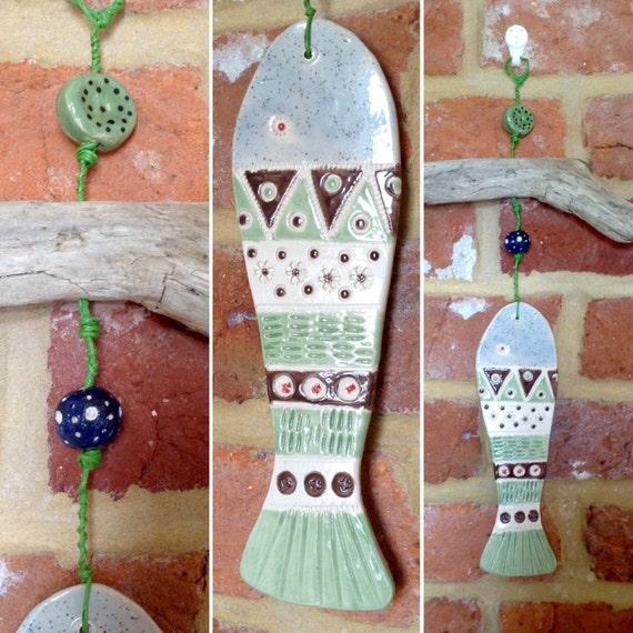 Driftwood & Ceramic Hanging Fish