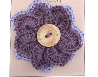 Crocheted Large Flower Brooch Boho Pretty Summer