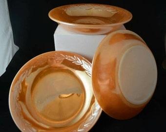 Vintage 1940s Orange Anchor Hocking Fire King Milk Glass Oven Ware- 3 Peach Laurel Bowls