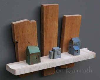 Wall Sculpture with 3 Tiny Blue and Green Rustic Ceramic Houses on Reclaimed White and Natural Wood