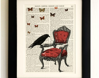 ART PRINT on old antique book page - Raven with Chair and Butterflies, Vintage Upcycled Wall Art Print, Encyclopaedia Dictionary Page