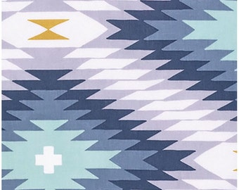 Wander By Joel Dewberry  Azteca in Midnight  Free Spirit  Designer Fabric Sold By the Half Yard In One Continuous Cut