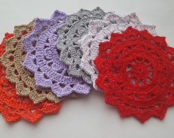 Hand Crocheted Coaters Mat, Jar Covers. Set of 6.