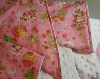 Strawberry Shortcake Minky Blanket / Choose color and size / Handmade Baby Toddler Girl Shower Gift // Vintage Inspired // Soft Boutique