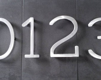 Modern house numbers (set of 5) aluminum, metal, modern font, address numbers