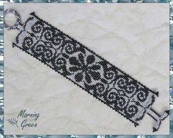 Black and White Bracelet, Black and White delica seed bead bracelet