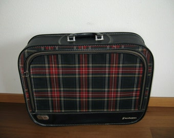 Cool Vintage 1950's Plaid and Leatherette carry on size Suitcase, Luggage, Tartan Plaid, Carry-on, Scottish Plaid small Suitcase