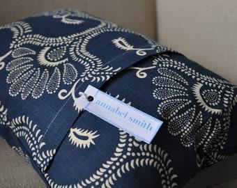 Indigo linen print cushion