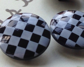Vintage Buttons - black and white  plastic