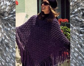 Vintage Poncho knitting pattern in PDF instant download version