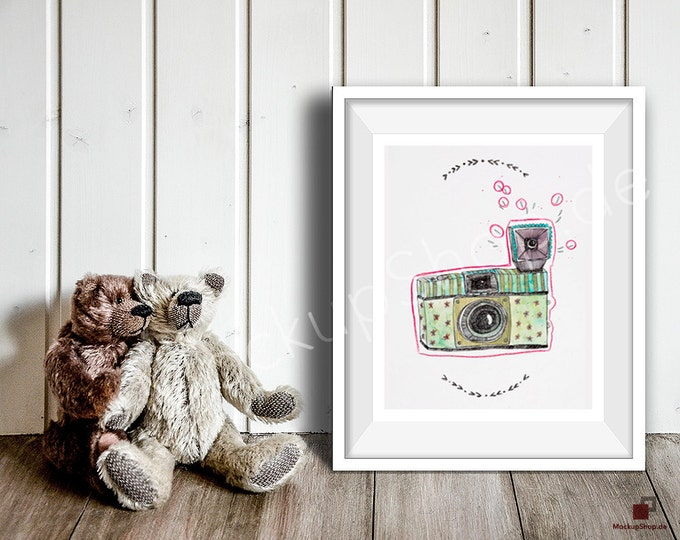 8x10 NURSERY MOCKUP FRAME white with 2 loving bears . Perfect mockup frame for Nursery room. Empty Frame Mockup Nursery Mockup. 16x20