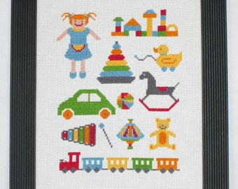 Toys Cross Stitch Pattern-nursery cross stitch, doll, teddy bear, rocking horse, xylophone, PDF, instant download