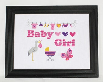 Baby Girl Cross Stitch Pattern-pink, nursery cross stitch, butterfly, pram, stork, clothes line, PDF, instant download