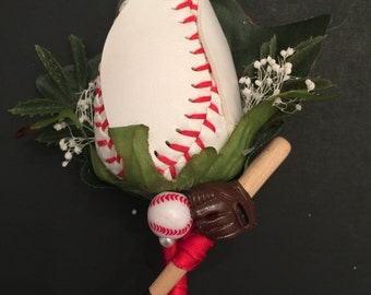 Baseball rose boutonniere