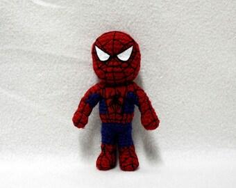 7 inch crochet Spiderman, Chibi Spiderman, Amigurumi Spiderman Toy
