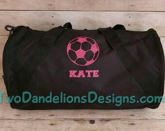 Personalized SOCCER Duffel/Gym  Bag. Soccer team, soccer bag, sports bag, duffel bag with long strap.