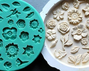 Silicone Mould Small flowers and leaves Sugarcraft Cake Decorating Fondant / fimo mold