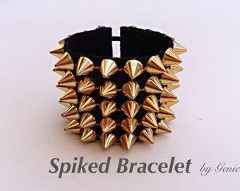 Gold Spiked Bracelet on black base.  Burning Man clothing Coachella jewelry Halloween accessory fectival costume Punk Rock spike cuff