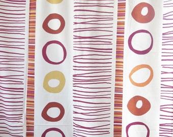Set of 2 Geometric Pattern Vintage Cotton Curtains w Circles Stripes, each: 228 x 138 cm / 89,7 x 54,3'' Thick Cotton Curtains #2-24