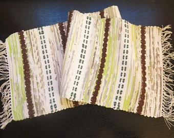 Vintage Rug Rag Striped Cotton Colorful, 103 x 31 cm / 40,5'' x 12,2'' Hand Woven Floor Runner Scandinavian # 2-11