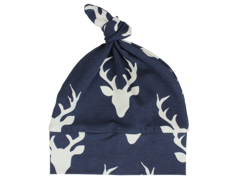 Navy Blue Deer Top Knot Hat Boy Baby Beanie Hat Unisex Buck Deer ... 488ec17fdf6