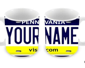 Personalized Custom Pennsylvania License Plate 11oz Ceramic Coffee Mug