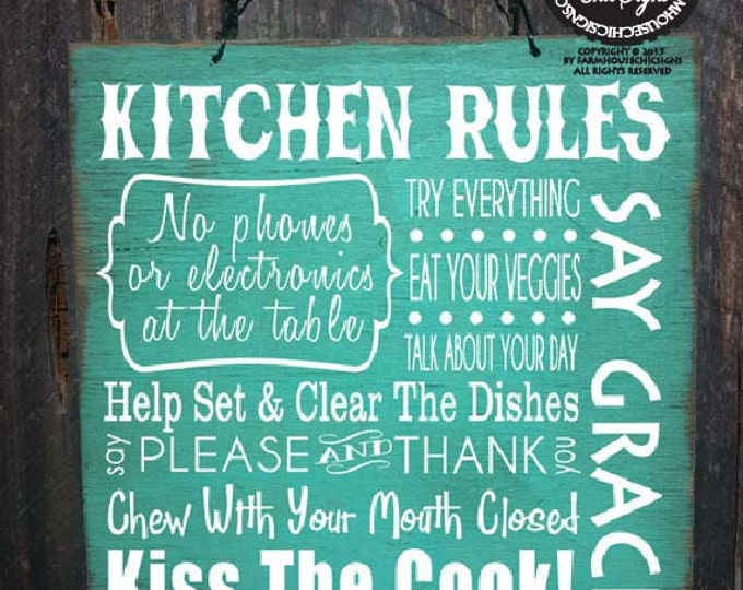 kitchen rules sign, kitchen decor, kitchen sign, dinner rules, gift for chef, family kitchen, Christmas gift, 37/96