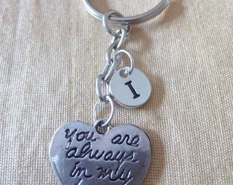 Always in my heart  Key chain with Initial, Love Jewelry,  Silver Custom, Friendship Jewelry,Charm Key chain