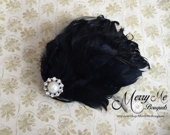 Black Feather Clip - Black Hair Clip - Black Bridal Clip - Black Bridal Hair Clip - Black Feather Hair Clip - Black Curled Feather Clip