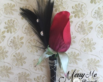Red and Black Boutonniere - Red Rose Boutonniere - Red Real Touch Boutonniere - Gothic Rose Boutonniere - Black and Red Unique Boutonniere
