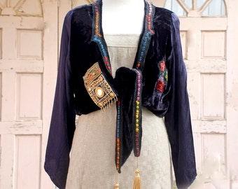 Bolero Tribal women velvet embroidered silk top hand by the tribes of Art Ethnic ,romantic Bolero,Bohemian gypsy,Hippie Boho clothing