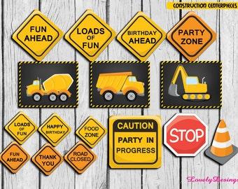 Construction Centerpieces ,Construction Party Printable Decorations, Dump Truck Decoration DIY, Instant Download
