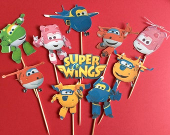 Super Wings cupcake toppers, airplane toppers, helicopter cake topper, Super Wings party, Super Wings Birthday, Jett, Donnie, Dizzy, Mira