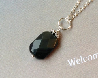Obsidian Pendant necklace- sterling silver, Onyx, obsidian gemstone, natural gemstones, black gemstone