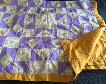 Vintage yellow and purple patchwork baby quilt