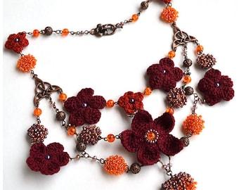 SUPER SALE, multistrand purple necklace,statement flower necklace, elven headpiece, woodland necklace, flower headpiece, crochet jewelery