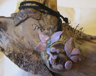 Polymer clay amulet you clay, fluorite. Amethyst and blue houlite