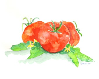 watercolour painting tomato print gift for her birthday gift kitchen prints original paintings tomatoes kitchen art from dylshouse
