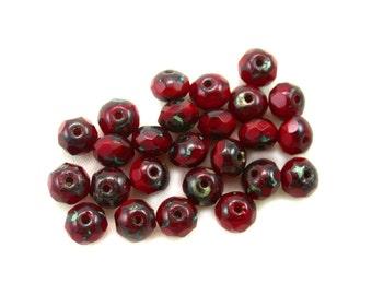 Dark Red opaline w/ Dark Brown picasso 4 x 6mm rondelles. Set of 12 or 25.