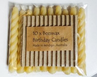 10 x Beeswax Birthday Candles FREE POSTAGE when you spend 50.00 or more in my shop