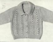 "PDF Knitting Pattern, 5Ply, Sz 18"" & 21"" Baby Collar Jacket Cardigan"