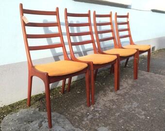 Set of Four, 1960's Kai Kristiansen for Korup Stolefabrik Teak, Upholstered Dining Chairs. Vintage / Retro / Mid Century