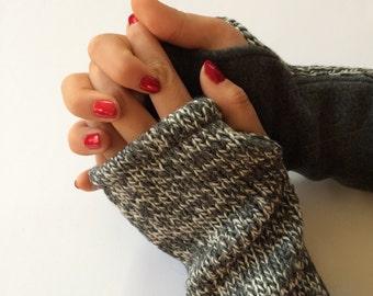 Knit Wool Arm Warmers. Fingerless Gloves. Fingerless Mittens. Fingerless Wool Gloves. Wrist Warmers. Wool Knit Wristwarmers. Gift For Her.