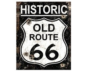 """Vintage Historic Old Route 66 Sign (Replica) 8"""" x 10"""""""