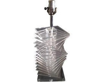 Vintage Stacked Lucite & Chrome Table Lamp