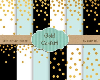 "Gold Confetti Digital Paper: ""Gold Foil Confetti"" Mint and Gold, Black Mint White and Gold Foil Scrapbook Paper, Gold Confetti"