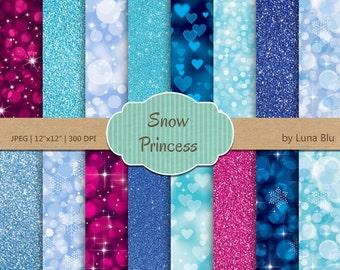 "Snow Princess Digital Paper pack: ""Princess bokeh and Glitter"" winter bokeh lights in aqua, blue, magenta, with heart bokeh, snowflakes"